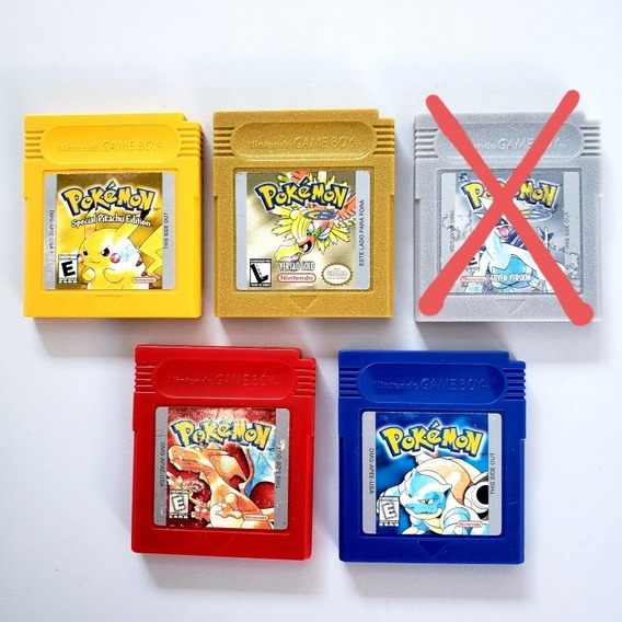 Pokemon Yellow Red Blue Gold Silver Originais Gameboy