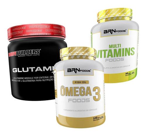 Kit Imunidade Multivitamínico + Glutamina + Omega 3