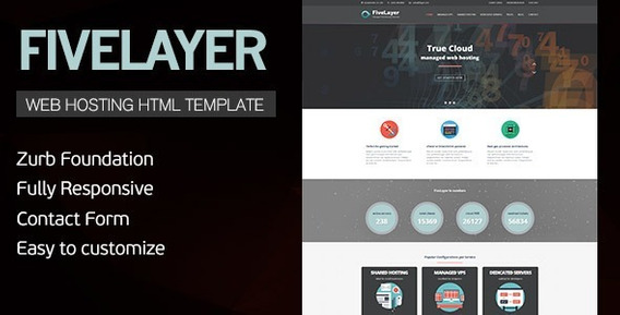 Fivelayer - Web Hosting, Responsive Html Template