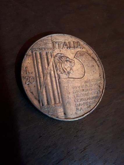 Escasa Moneda Italiana De Plata 20 Liras Del Año 1928 (foto)