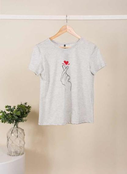 Remera Gris Melange Mujer Corazón Talle 2