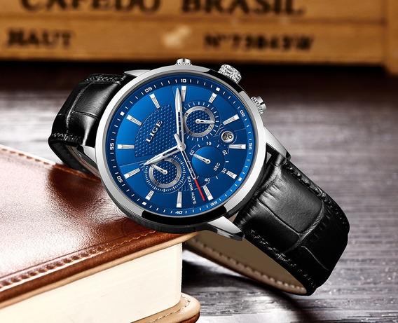 Relógio Lige Masculino Luxo Preto+prateado+azul (original)
