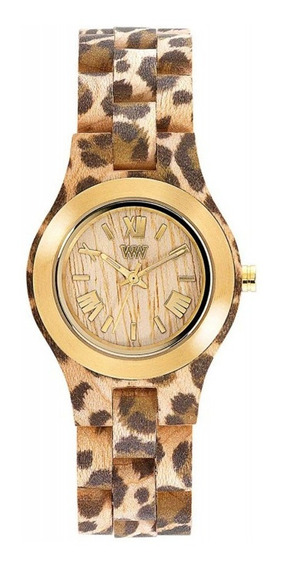 Relógio De Madeira Wewood Criss Leo Beige Gold - Wwcr07