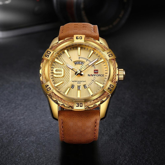 Relógio Naviforce Em Couro E Aço Inox Dourado Novo Modelo
