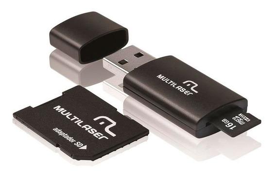 Pen Drive Multilaser 16gb 3 Em 1 Com Cartão De Memória Mc112