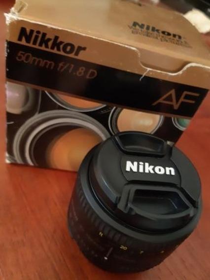 Objetivo Lente Nikon Nikkor 50 Mm 1.8 Af Perfecto Estado Caj