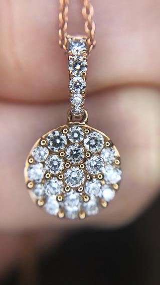 Colgante Estilo Solitario Oro Rosa Diamantes Brillantes