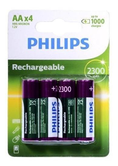 Pilha Recarregavel Philips Aa 2300 Mah 4 Unidades Original