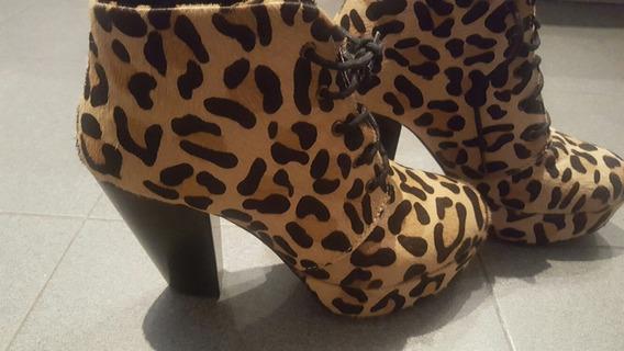 Zapatos Botas Talle 38 De Leopardo Sin Uso, Impecables!!