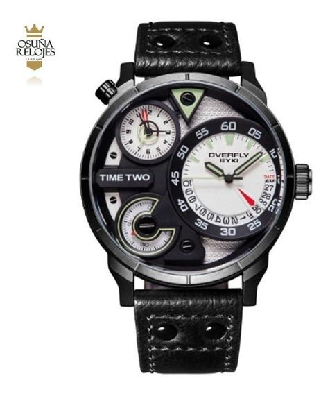Relógio Masculino De Luxo Com Dois Times Eyki Elegante Original