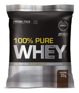 Kit Com 5 100% Pure Whey-1 Sachê-32g-probiótica-chocolate