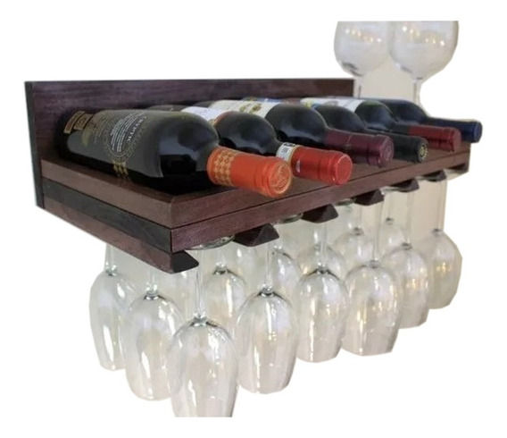 Adega De Madeira Prateleira E Porta Taças Para Vinho Bar