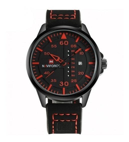 Relógios De Pulso Masculino Naviforce Quartzo Couro 9074
