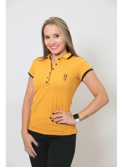 Camisa Polo Feminina Mostarda