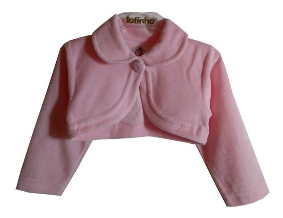 Bolero Infantil Festa Plush Branco Rosa Creme Pink Preto