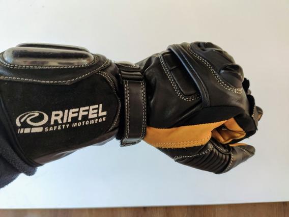 Luva Couro Motociclista Riffel New Racing Xxg