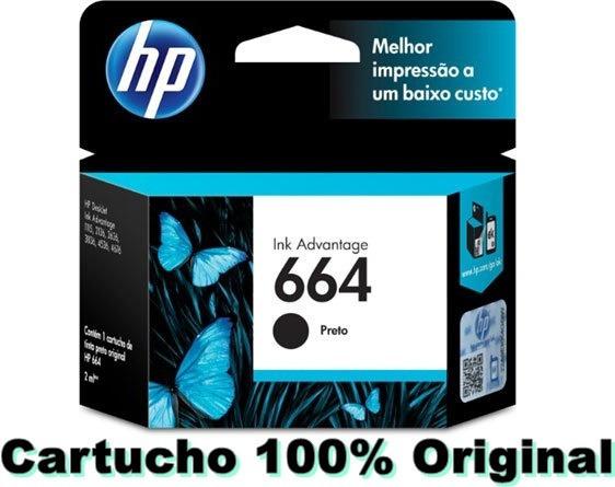 Cartucho De Tinta Para Hp Preto 664 Original (f6v29ab)