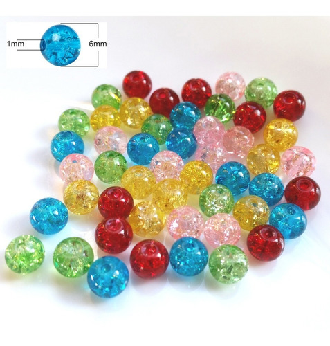 Imagen 1 de 2 de Cuentas De Vidrio Redondas 6mm Mix 5 Colores - Pack 50 Unid