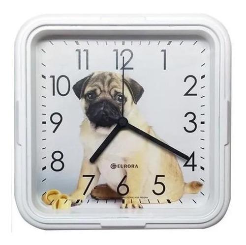 Relógio De Parede Eurora Cozinha Sala Dog Branco 6589