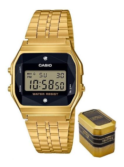 Reloj Casio Dorado A159wged-1df Natural Diamonds Unisex Moda