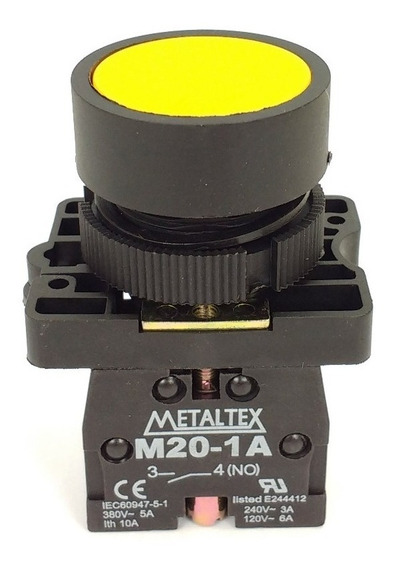 Botão Pulsador 22mm Cores P20bfr Metaltex C/ Nf E Garantia