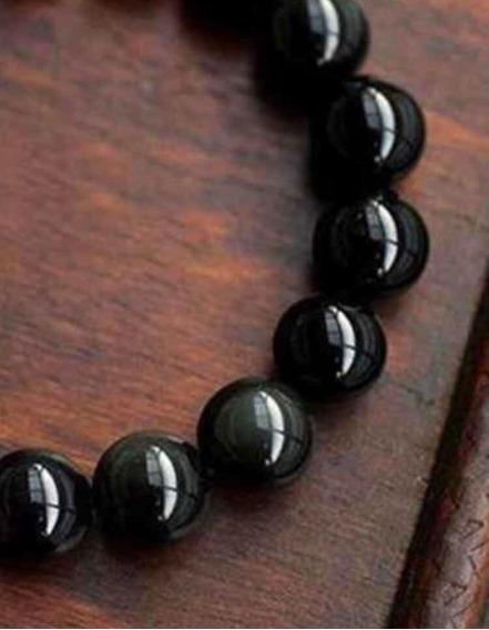 Pulseira De Bolinha Pedra Natural Ágata Negra Shambala 8mm