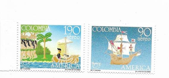Estampillas Colombia Año 1991 Descubrimiento De América Mint
