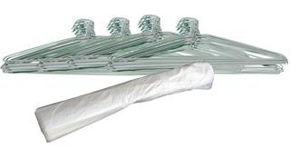 Ganchos Alambre Blancos Y Bolsas Para Tintoreria Paquete 100