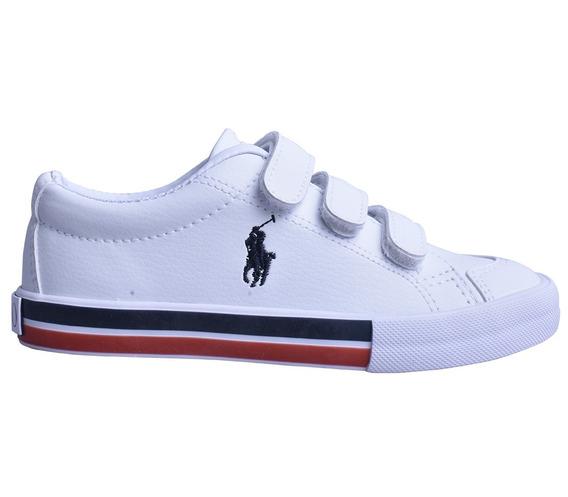 Tenis Polo Ralph Lauren Para Niño Escolar Blanco Vinipiel