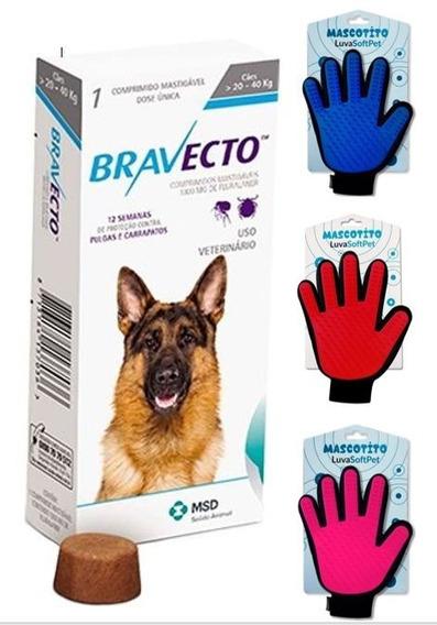 Bravecto Para Cães De 20 A 40 Kg + 1 Luva Tira Pelos