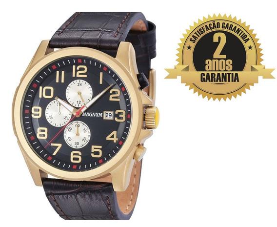 Relógio Masculino Magnum Ma34469p Cronógrafo Dourado Preto Baixou Preço Oportunidade Original 2 Anos De Garantia