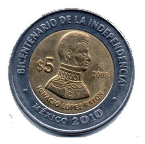 Imagen 1 de 6 de Moneda  Cinco Conmemorativa  Ignacio Lopez Rayon  2008  Int
