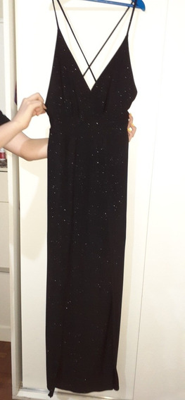 Vestido De Fiesta Negro Elastizado Con Brillos. Talle Unico