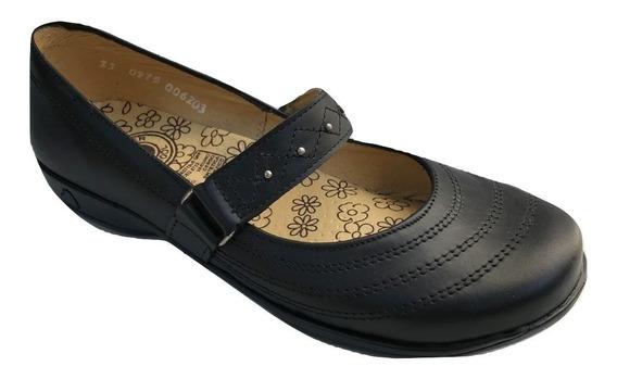 Zapato Escolar Colegial Yondeer 6203 Para Niña Piel Negro