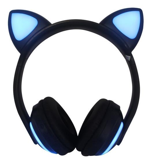 Fone De Ouvido Headphone Orelha Gato Bluetooth P2 Led Exbom