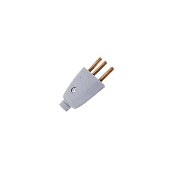Plug Chato Macho 2p+t 10a/250v Cinza Interneed