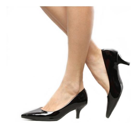 Sapato Scarpin Social Designer Despojado Preto Verniz