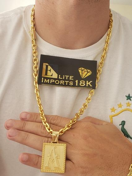 Cordão Cadeado 8mm Com Pingente Banhado A Ouro Luxo