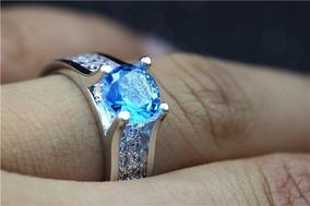 Anel Feminino Noivado Elegante Pedra Azul Celeste Prata 925