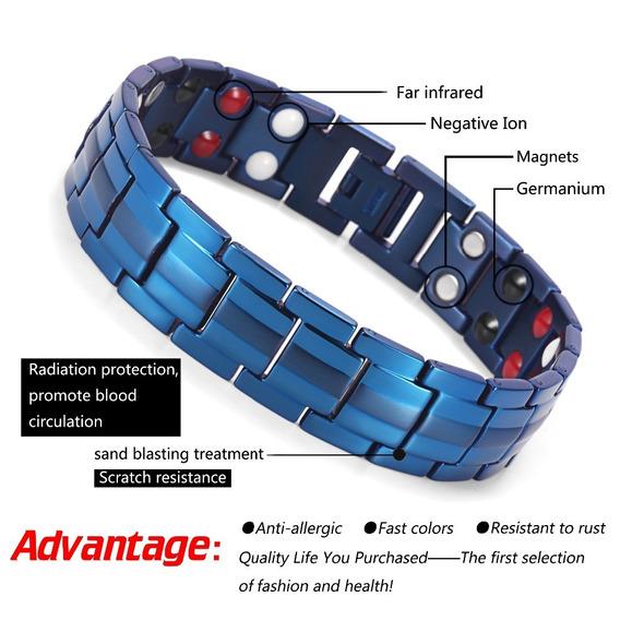Titanio Brazalete Pulsera Magnético Azul Infrarrojo Titanium