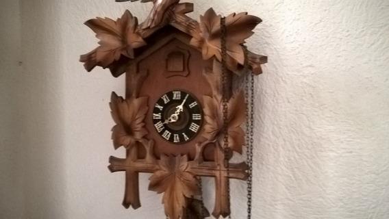 Autentico Reloj Cucu Antiguo Aleman Madera Selva Negra