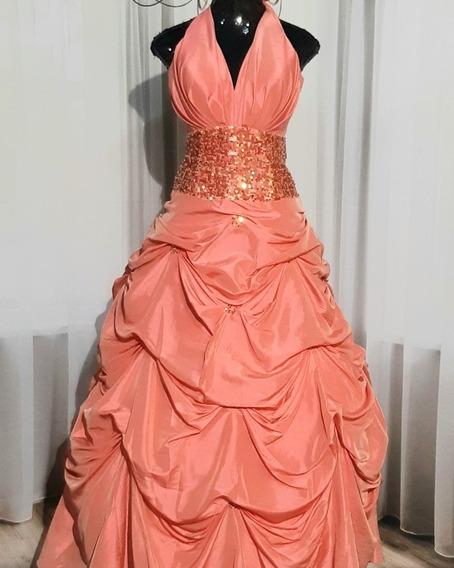 Vestido De Debutante, Cor Coral. Semi Novo