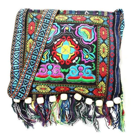 Bolsa Morral Hippie Vintage Bordada Artesanal Etnica Flores