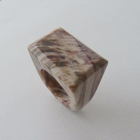 Anel De Madeira Petrificada Aro 17 Cód 4958