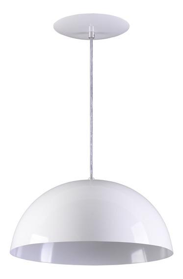 Pendente Meia Lua Meia Bola Esfera Alumínio 34cm - Branco