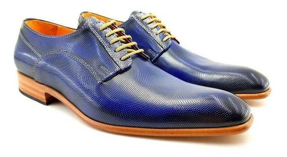 Zapato Azul Charol Picado Leonetti Vestir Sport Hombre