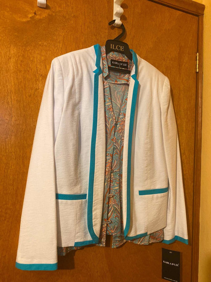 Conjunto Karla D Liz 3 Piezas Pantalón Saco Blusa Azul Blanc
