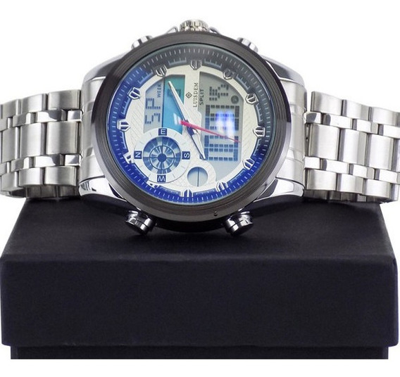 Relógio Masculino Prata E Azul Aço Homem Moderno + Caixa