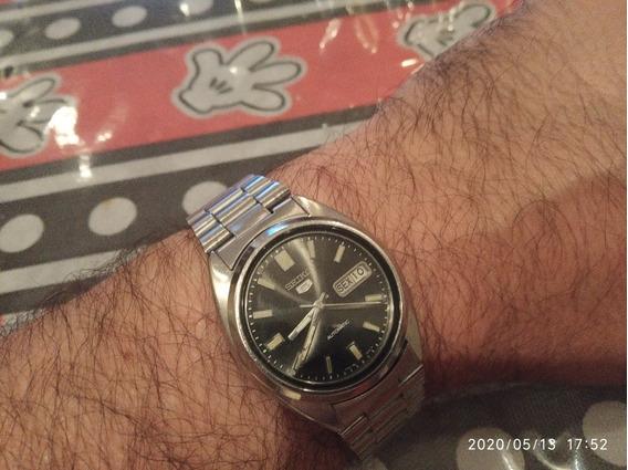 Relógio Seiko Automático Pulseira Em Aço Cor Preto.