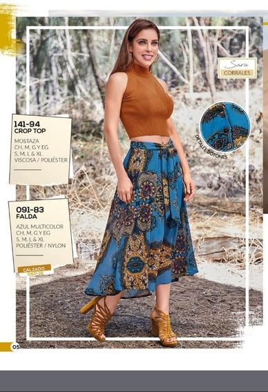 Falda Dama Cklass 091-83 Azul Multicolor Sexy Oi-19 Casual